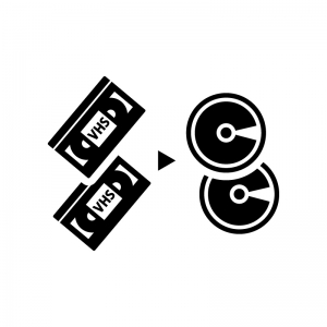 ビデオテープからDVDの白黒シルエットイラスト02