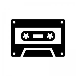 カセットテープの白黒シルエットイラスト03