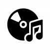 CDと音符の白黒シルエットイラスト02