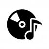 CDと音符の白黒シルエットイラスト03