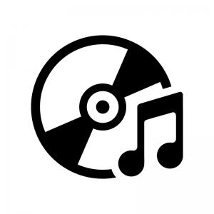 CDと音符の白黒シルエットイラスト04