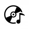CDと音符の白黒シルエットイラスト05