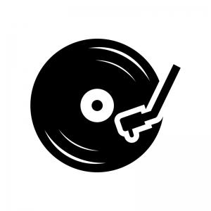レコードの白黒シルエットイラスト