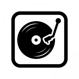レコードの白黒シルエットイラスト03