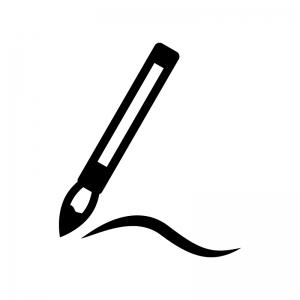 筆で書いている白黒シルエットイラスト