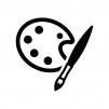 絵筆とパレットの白黒シルエットイラスト03