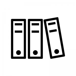 バインダー・書類の白黒シルエットイラスト02