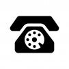 黒電話の白黒シルエットイラスト02