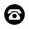 白抜きの黒電話の白黒シルエットイラスト
