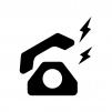 黒電話が鳴っている白黒シルエットイラスト