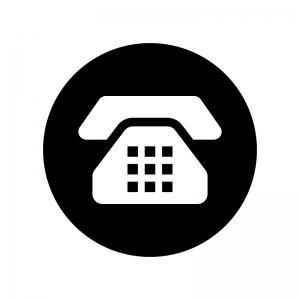 白抜きのプッシュ電話の白黒シルエットイラスト