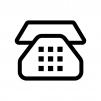 プッシュ電話の白黒シルエットイラスト02