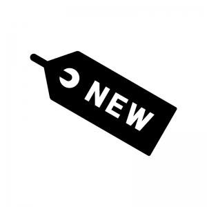 NEWのタグの白黒シルエットイラスト