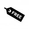 FREEのタグの白黒シルエットイラスト