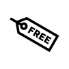 FREEのタグの白黒シルエットイラスト02