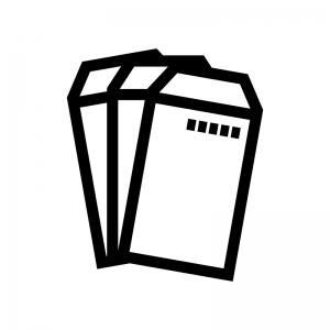 封筒の白黒シルエットイラスト03