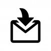 メール受信の白黒シルエットイラスト02