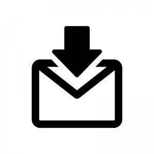 メール受信の白黒シルエットイラスト03