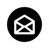 白抜きの開封メールの白黒シルエットイラスト