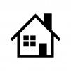 煙突の家(ホーム)の白黒シルエットイラスト
