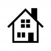 煙突の家(ホーム)の白黒シルエットイラスト02