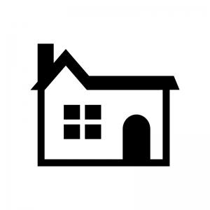 煙突の家(ホーム)の白黒シルエットイラスト03