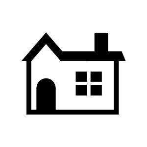 煙突の家(ホーム)の白黒シルエットイラスト04