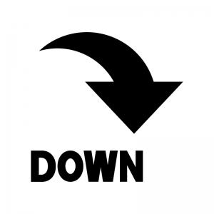 下降マークの白黒シルエットイラスト03