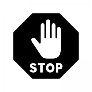 手とストップの白黒シルエットイラスト02