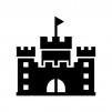 お城・砦の白黒シルエットイラスト03