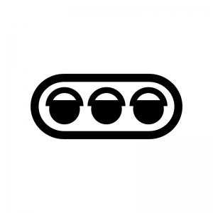 信号機の白黒シルエットイラスト05