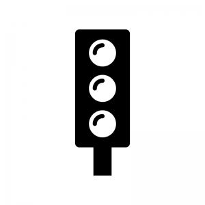 縦型の信号機の白黒シルエットイラスト03