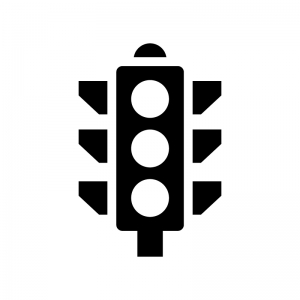 縦型の信号機の白黒シルエットイラスト04