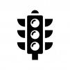 縦型の信号機の白黒シルエットイラスト05