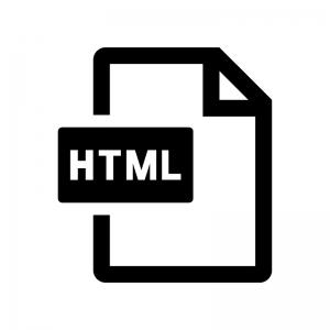 HTMLファイルの白黒シルエットイラスト