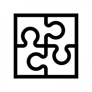 パズルの白黒シルエットイラスト