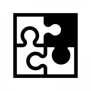 パズルの白黒シルエットイラスト02