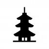 三重塔の白黒シルエットイラスト