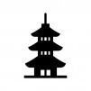 三重塔の白黒シルエットイラスト02