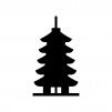 五重塔の白黒シルエットイラスト