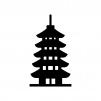 五重塔の白黒シルエットイラスト02