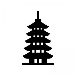 五重塔のシルエット02 無料のaipng白黒シルエットイラスト