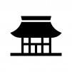 お寺・寺院の白黒シルエットイラスト