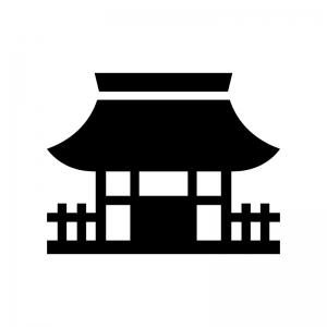 お寺・寺院の白黒シルエットイラスト02