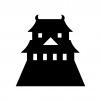 お城の白黒シルエットイラスト