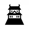 お城の白黒シルエットイラスト02