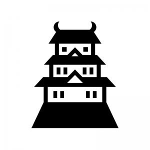 お城の白黒シルエットイラスト03