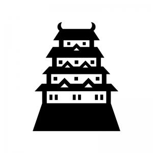お城の白黒シルエットイラスト04