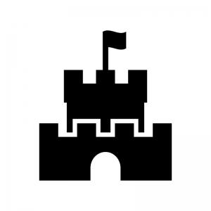 お城・砦の白黒シルエットイラスト02