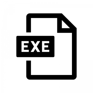 EXEファイルの白黒シルエットイラスト